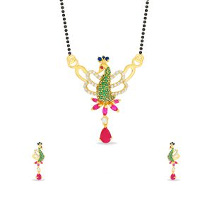 Colour Stone Peacock Pendant Set